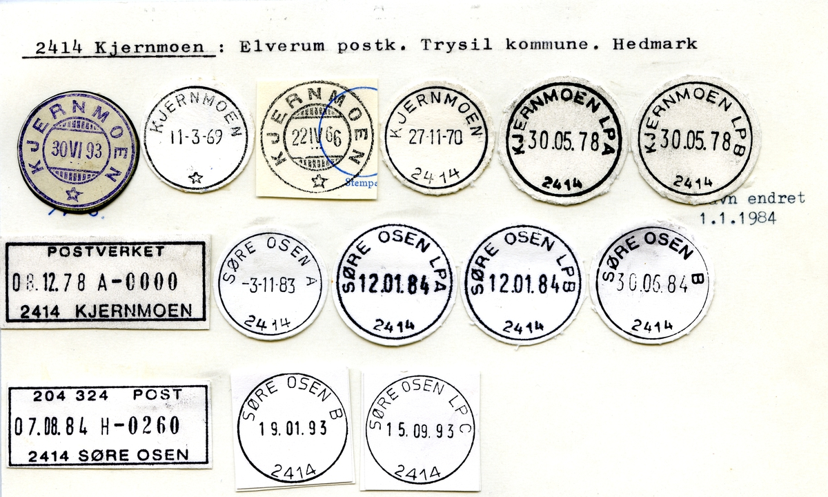 Stempelkatalog 2414 Kjernmoen, Elverum postk., Trysil kommune, Hedmark