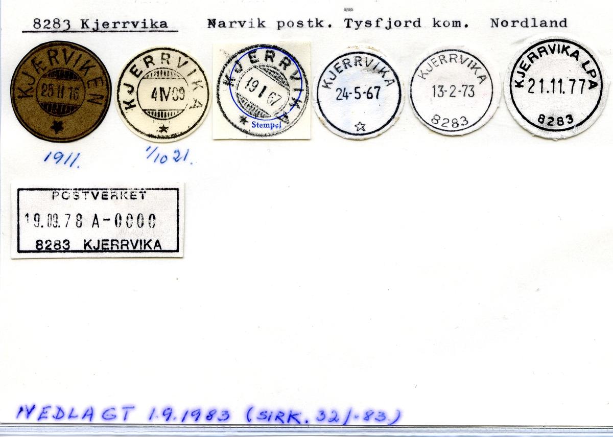 Stempelkatalog 8283 Kjerrvika, Narvik postk., Tysfjord kommune, Nordland