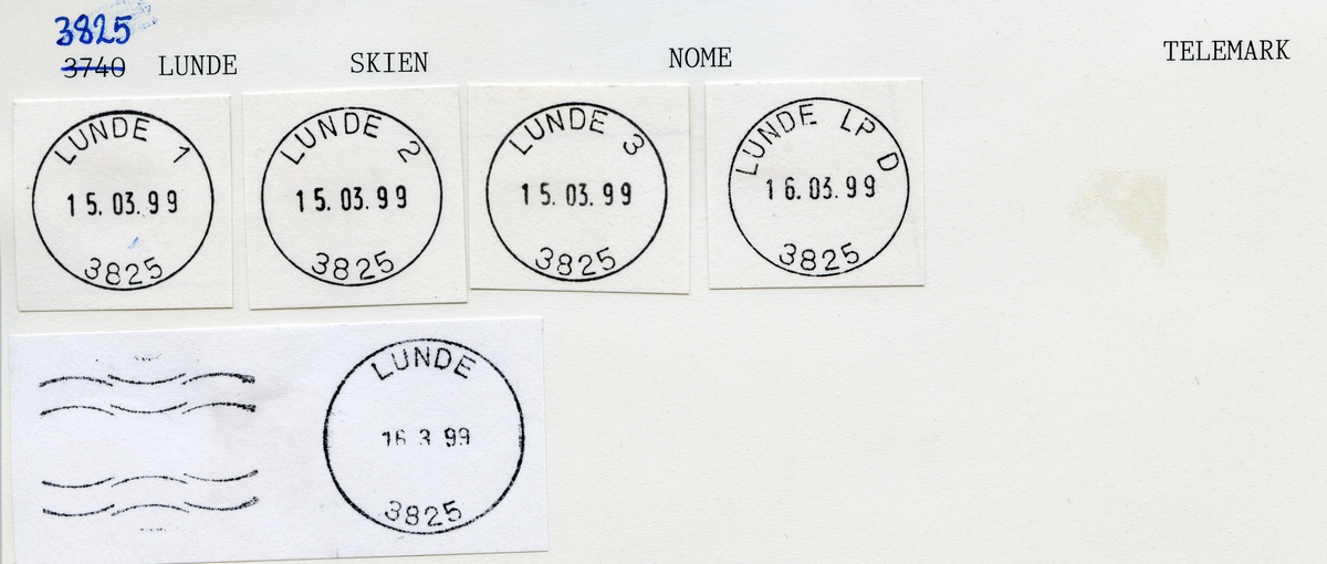 Stempelkatalog, 3740 Lunde, Nome kommune, Telemark