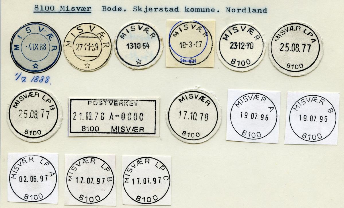 Stempelkatalog  8100 Misvær, Skjerstad kommune, Nordland