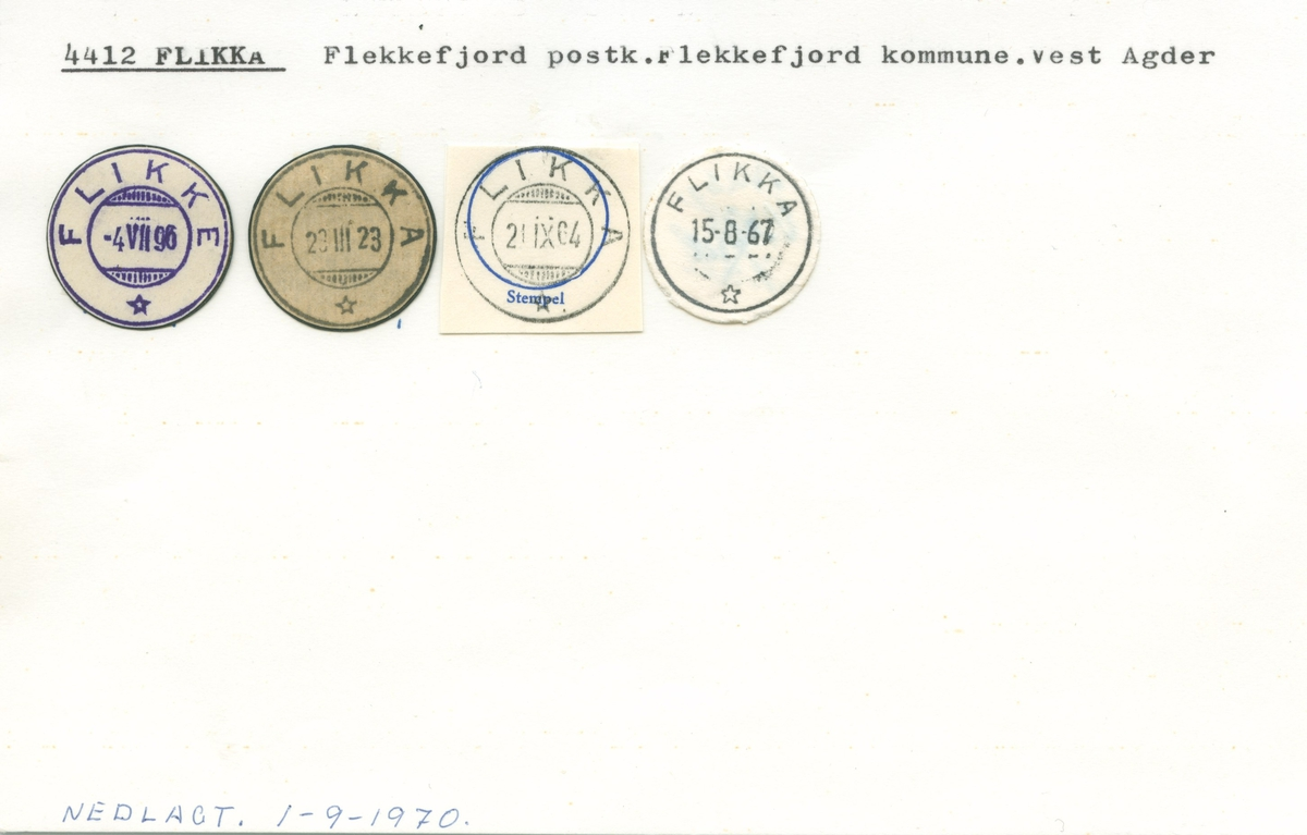 Stempelkatalog, Flikka, Flekkefjord, Flekkefjord kommune, Vest-Agder