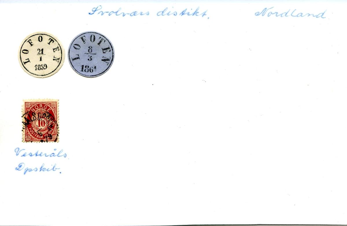 "Stempelkatalog. Ambulerende brevhus båt, ""Lofoten"", Vesteråls dampskipsselskap, Svolværs distrikt, Nordland fylke."