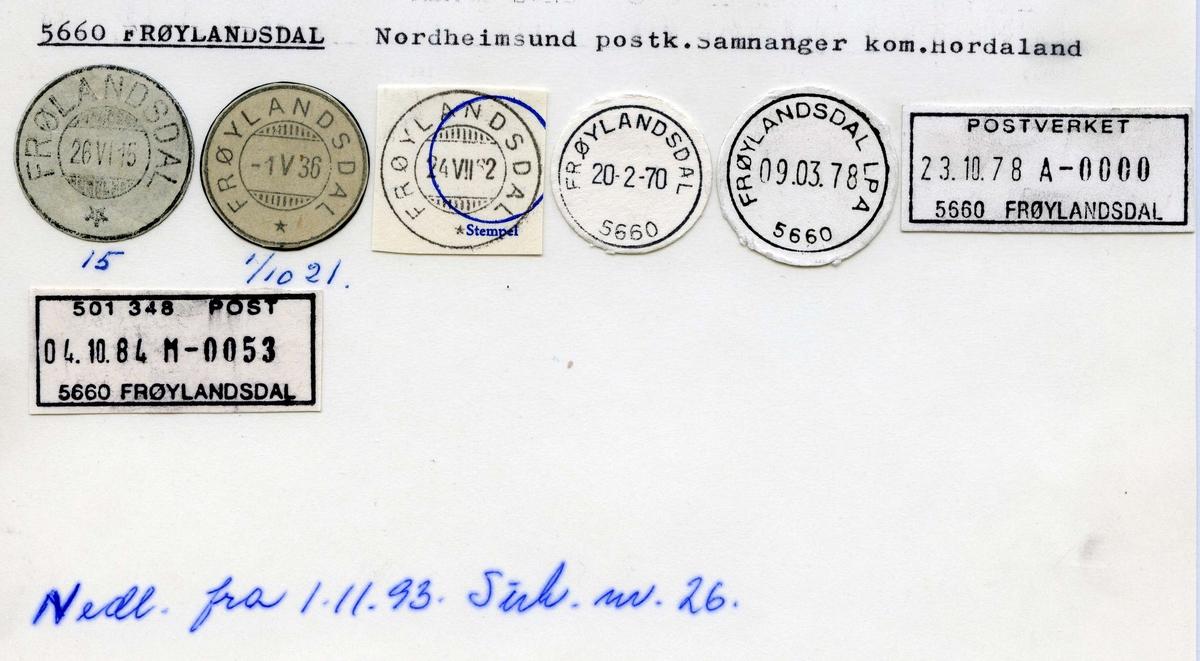 Stempelkatalog.5660 Frøylandsdal, Nordheimsund, Samnanger kommune, Hordaland. (Frølandsdal)