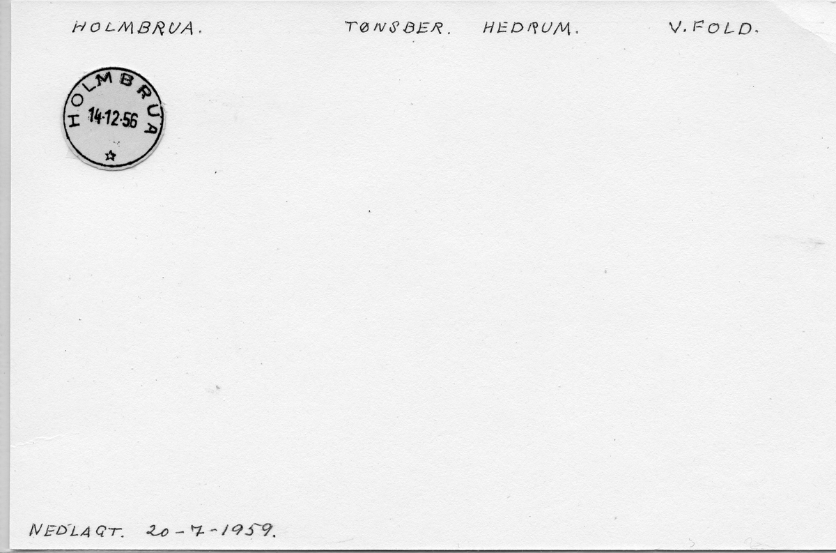 Stempelkatalog. Holmbrua. Tønsberg postkontor. Hedrum kommune. Vestfold fylke.
