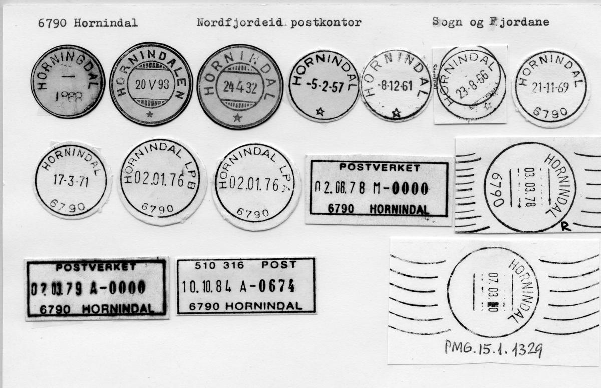 Stempelkatalog. 6790 Hornindal, Nordfjordeid postk., Hornindal kommune, Sogn og Fjordane