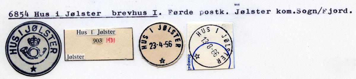 Stempelkatalog 6854 Hus i Jølster, Førde postk., Jølster kommune, Sogn og Fjordane