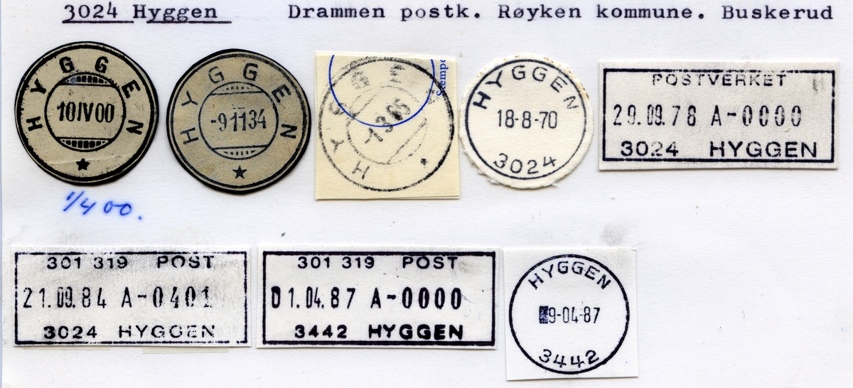 Stempelkatalog 3024 Hyggen, Drammen, Røyken, Buskerud