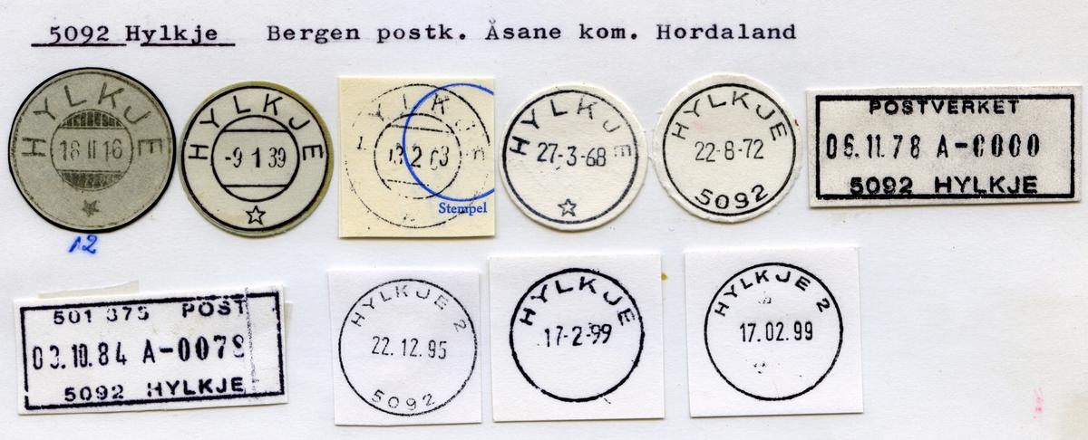 Stempelkatalog 5092 Hylkje, Bergen postk, Åsane kommune, Hordaland
