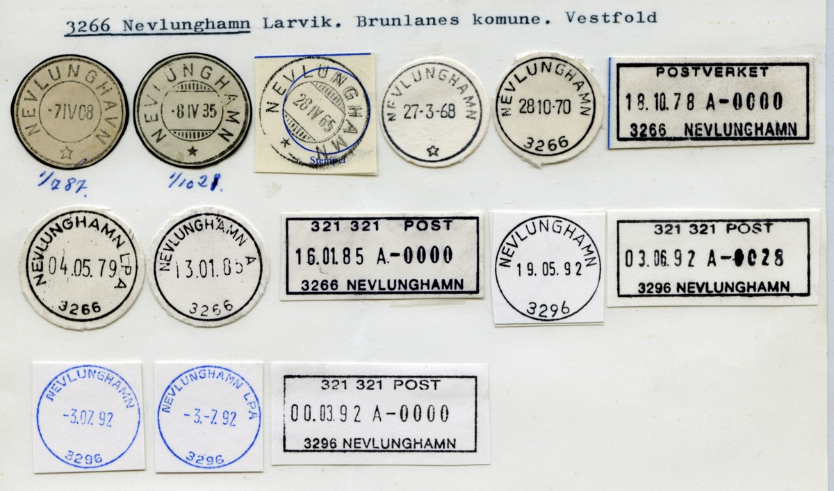 Stempelkatalog  3266 Nevlunghamn, Larvik, Brunlanes kommune, Vestfold