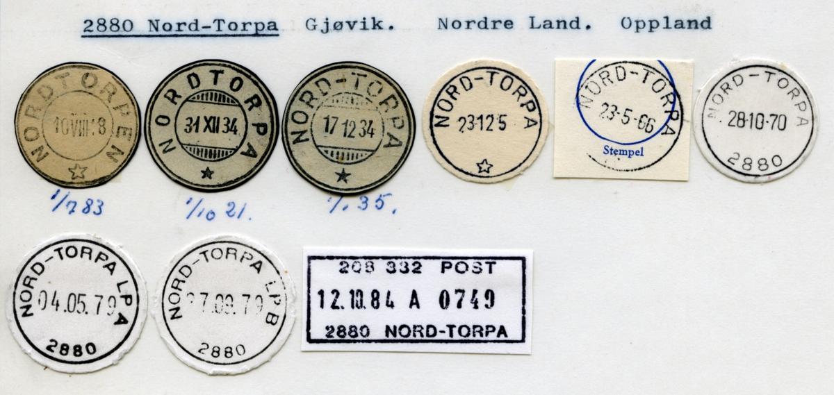 Stempelkatalog 2880 Nord-Torpa, Gjøvik, Nordre Land, Oppland