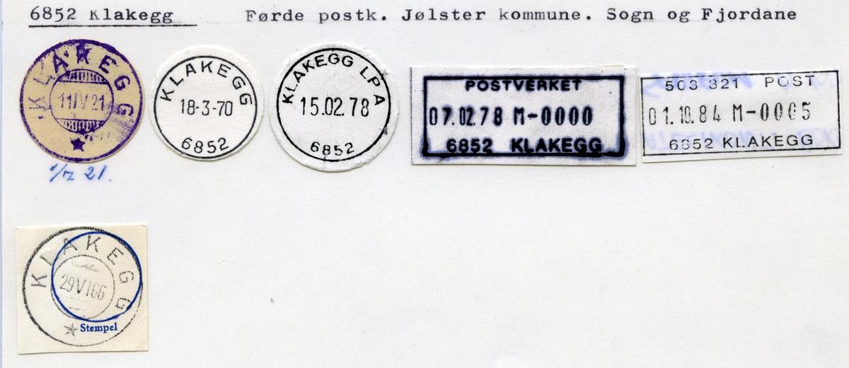 Stempelkatalog 6852 Klakegg, Førde Jølster kommune, Sogn og Fjordane