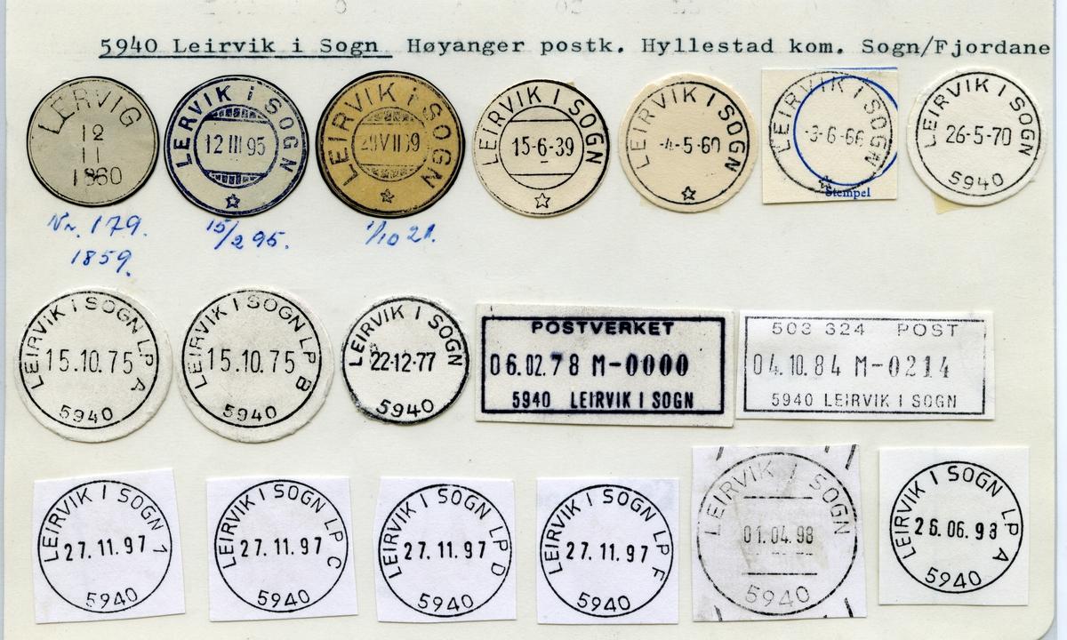 Stempelkatalog 5940 Leirvik i Sogn (Lervig, Lervik i Sogn, Leirvik i Sogn), Høyanger, Hyllestad, Sogn og Fjordane
