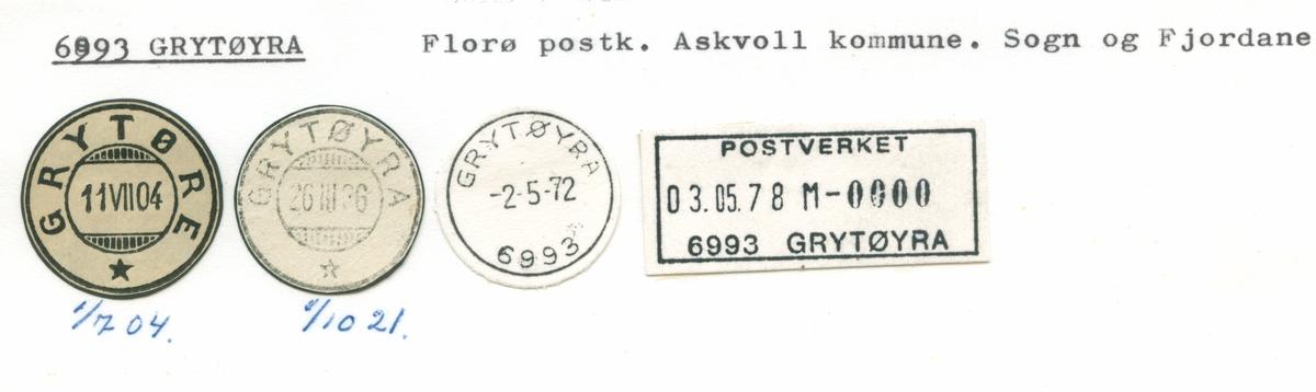 Stempelkatalog 6993 Grytøyra, Florø, Askvoll, Sogn og Fjordane