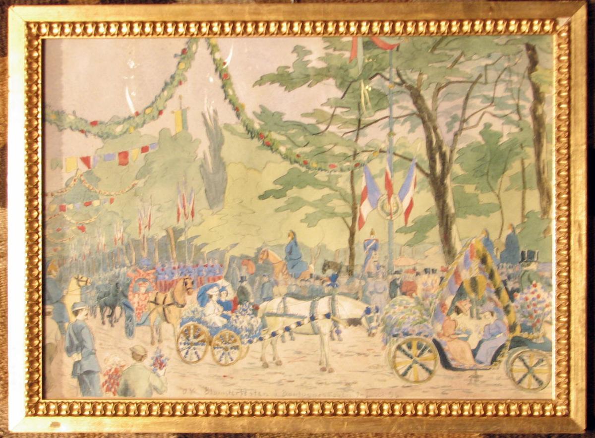 Rektangulær. Blomsterfesten i Boulogneskoven 7. juni 1896; blomstersmykkede kjøretøyer, guirlander, flagg, tilskuere.