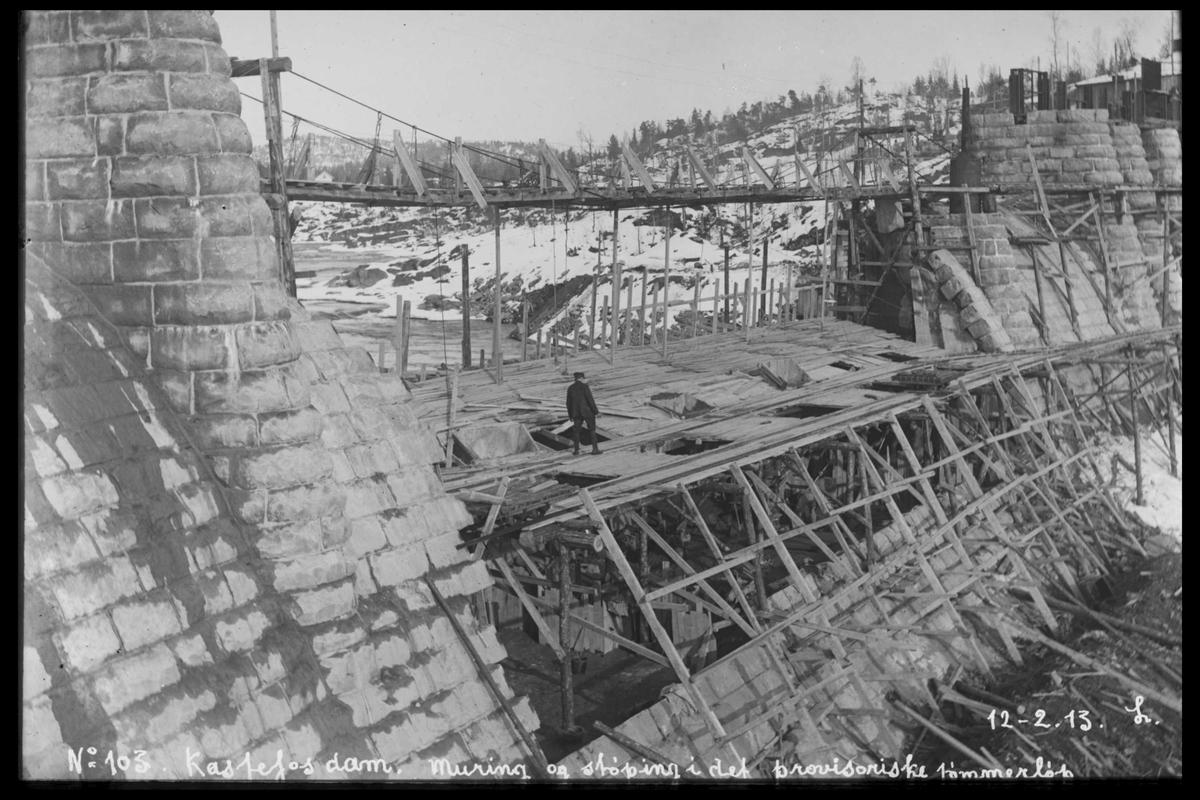 Arendal Fossekompani i begynnelsen av 1900-tallet CD merket 0565, Bilde: 25 Sted: Haugsjå Beskrivelse: Byggearbeider