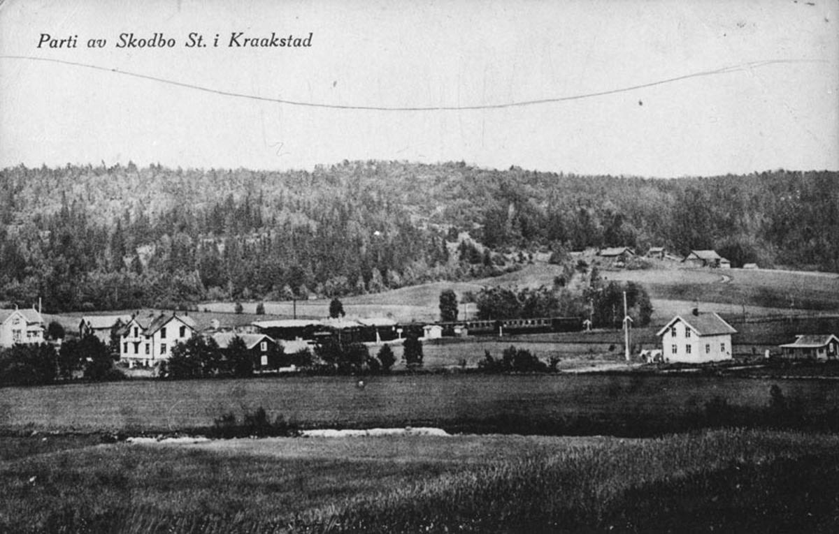 Postkort av Skodbo stasjon, Kraakstad.
