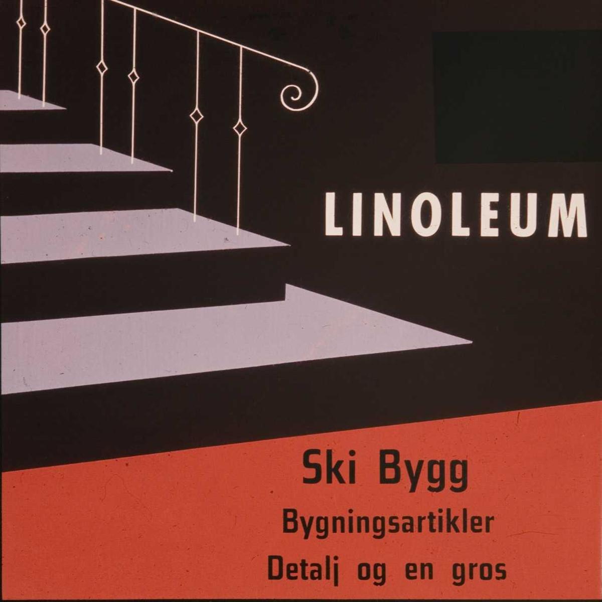 Kinoreklame fra Ski for linoleum. Ski Bygg - bygningsartikler detalj og en gros.