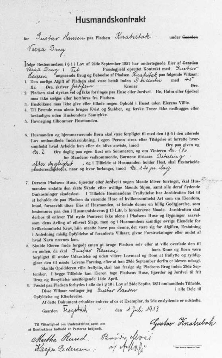 Husmannskontrakt fra Varå bruk