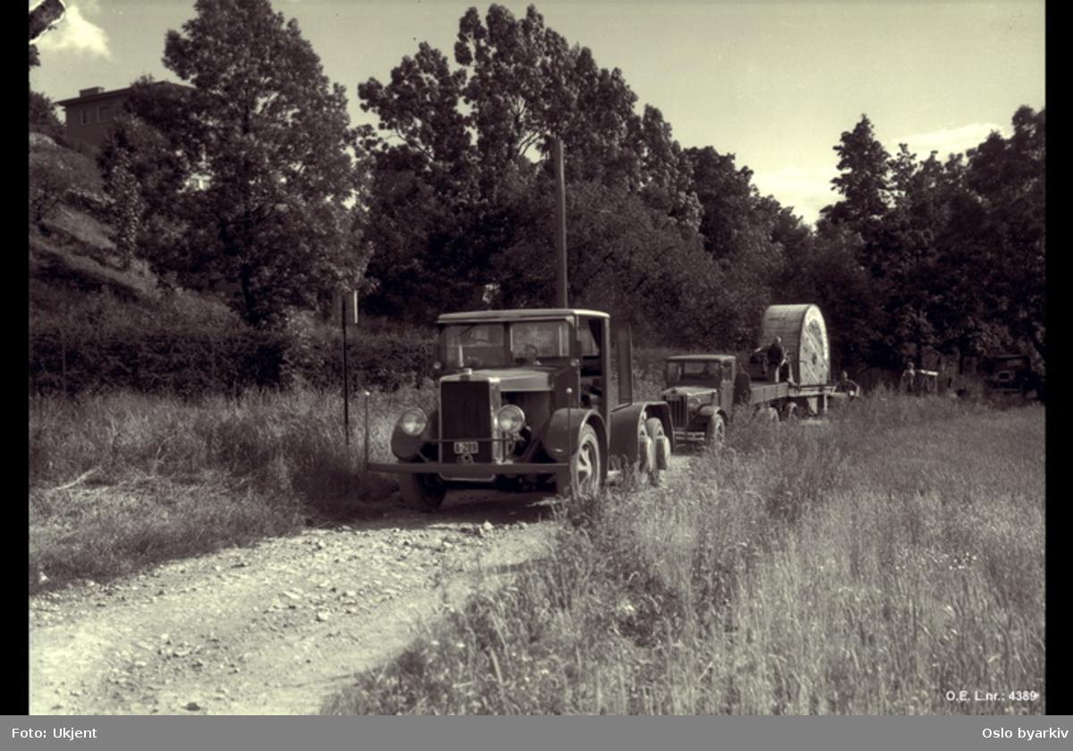 Transport av 60 KV kabelrull opp Skøyenven.