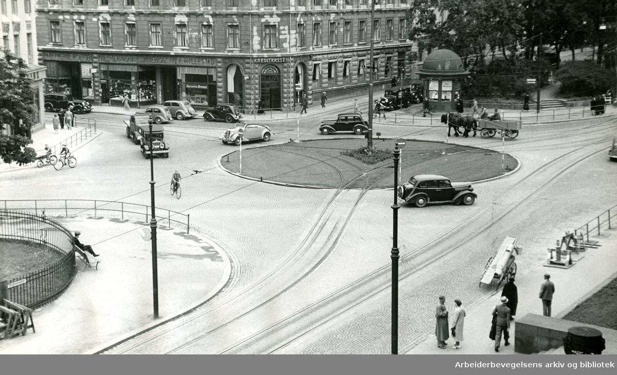 Drammensveien ved Solli plass,.juli 1938