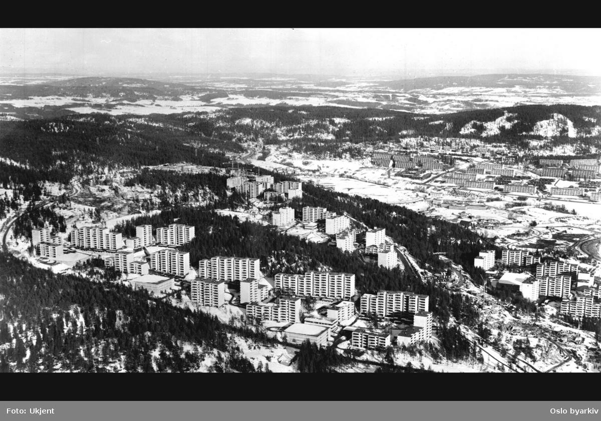 Boligområde dominert av blokkbebyggelse, omgitt av Lillomarka. Stovner og Vestli i bakgrunnen. (Flyfoto)