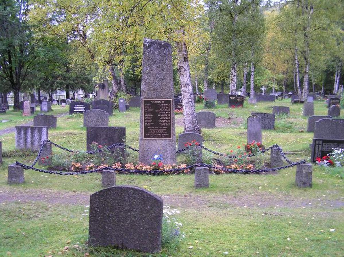 Kjøreanvisning: Monumentet står på Narvik gamle gravlund, som ligger nord for Narvik jernbanestasjon og på samme siden av jernbanen.