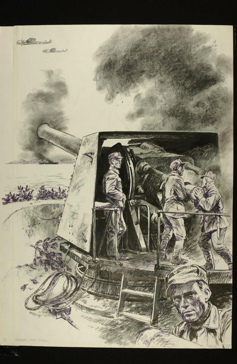 Odderøya i kamp 9.april. Kampene i Norge 1940, bind 2, side 55.