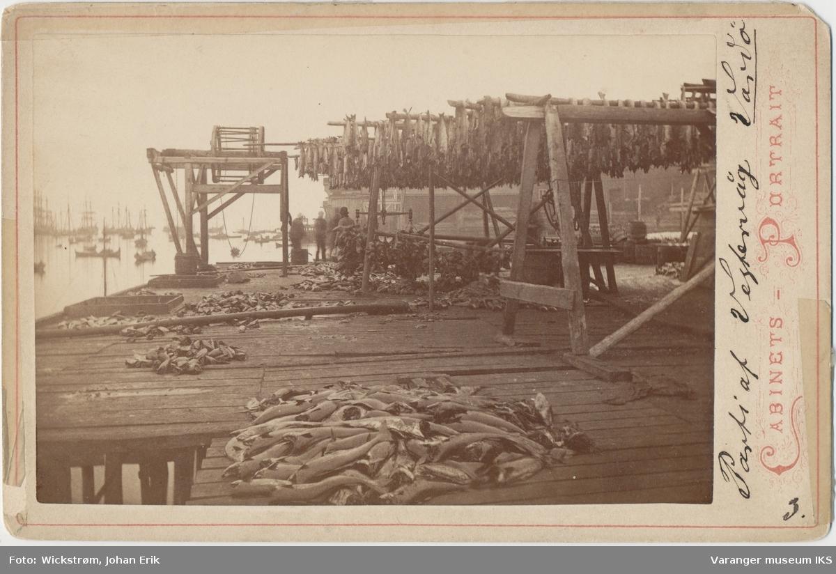 Kai med tørrfisk, båter i bakgrunnen, antatt ca. 1881-1883