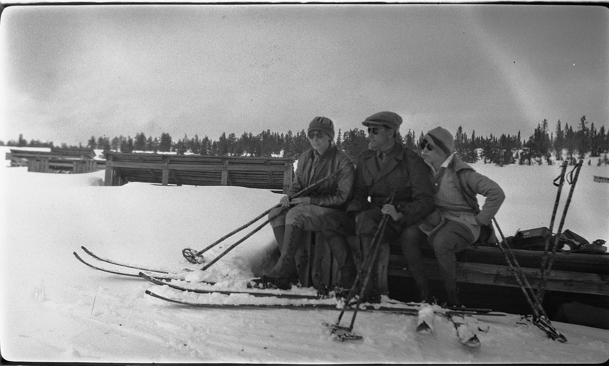 To kvinner og en mann på ski. Bygninger for torvmyrproduksjon, tørkelager.