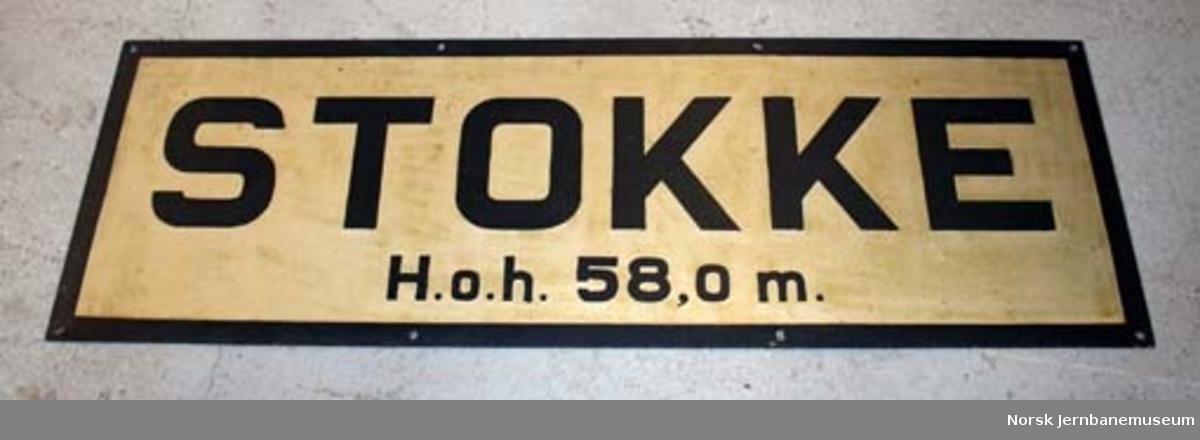 Stasjonsskilt fra Stokke stasjon