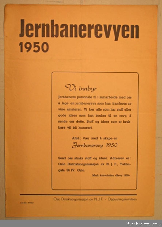 Informasjonsplakat : Jernbanerevyen 1950