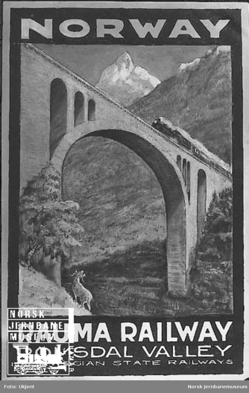 NSB-reiselivsplakat: Norway - Rauma Railway - Romsdal Valley