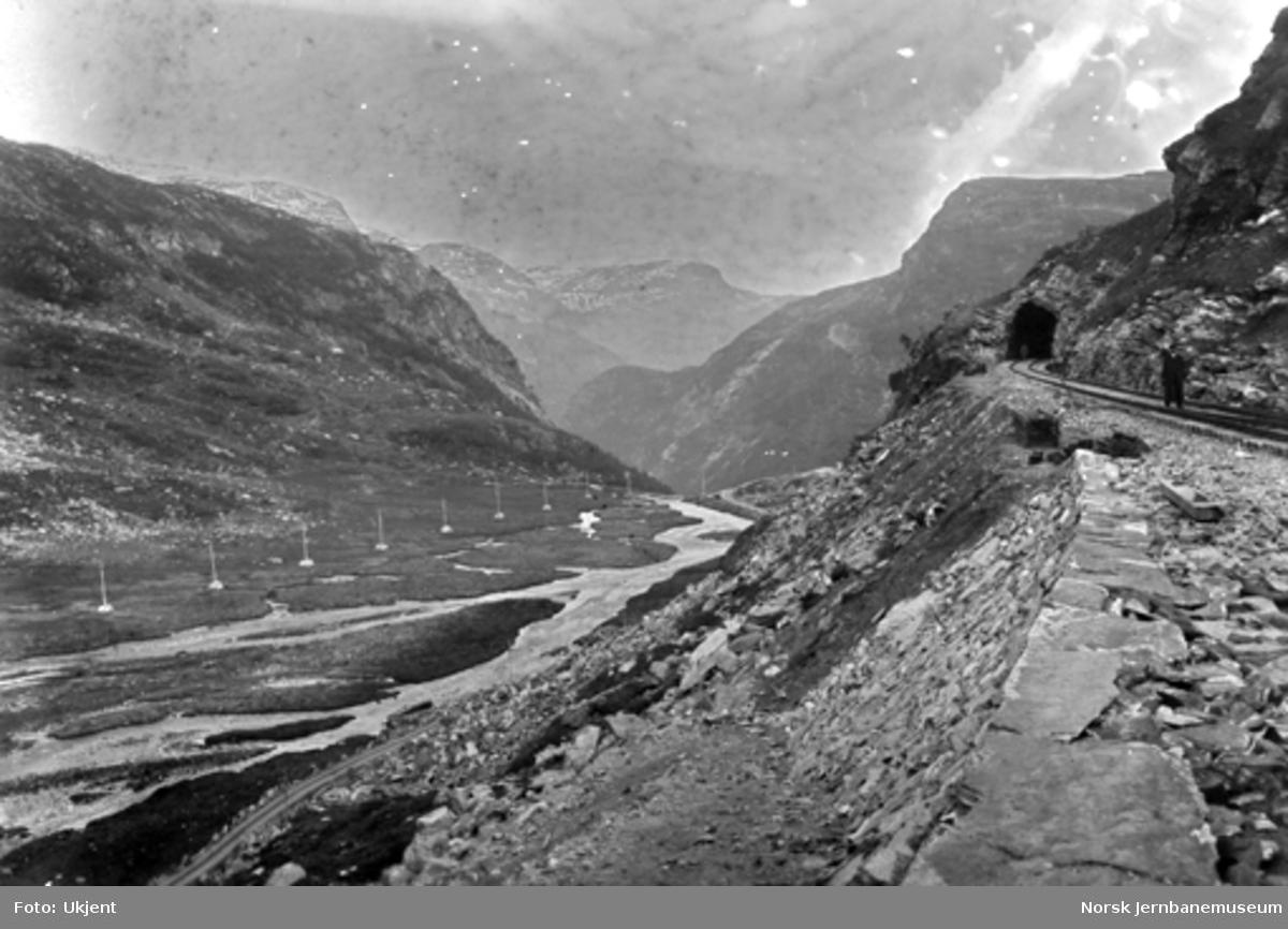 Parti fra Myrdal med ferdig trasé mot Myrdalsleite tunnel