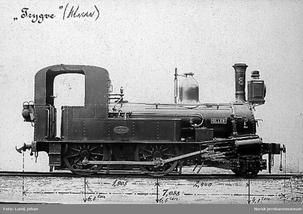 """Damplokomotiv type IV nr. 8 """"Uller"""", målsatt fotografi"""