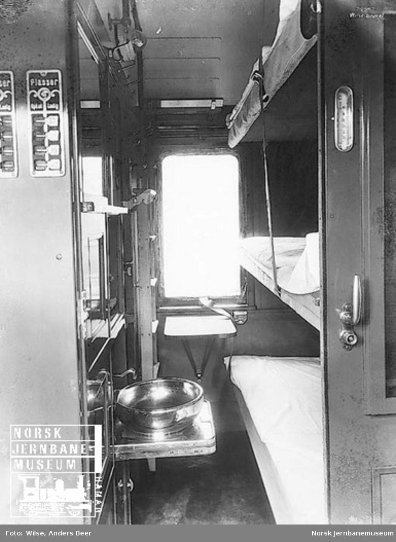 Interiørbilde fra 3. klasse-kupeer i sovevogn litra ACo1a