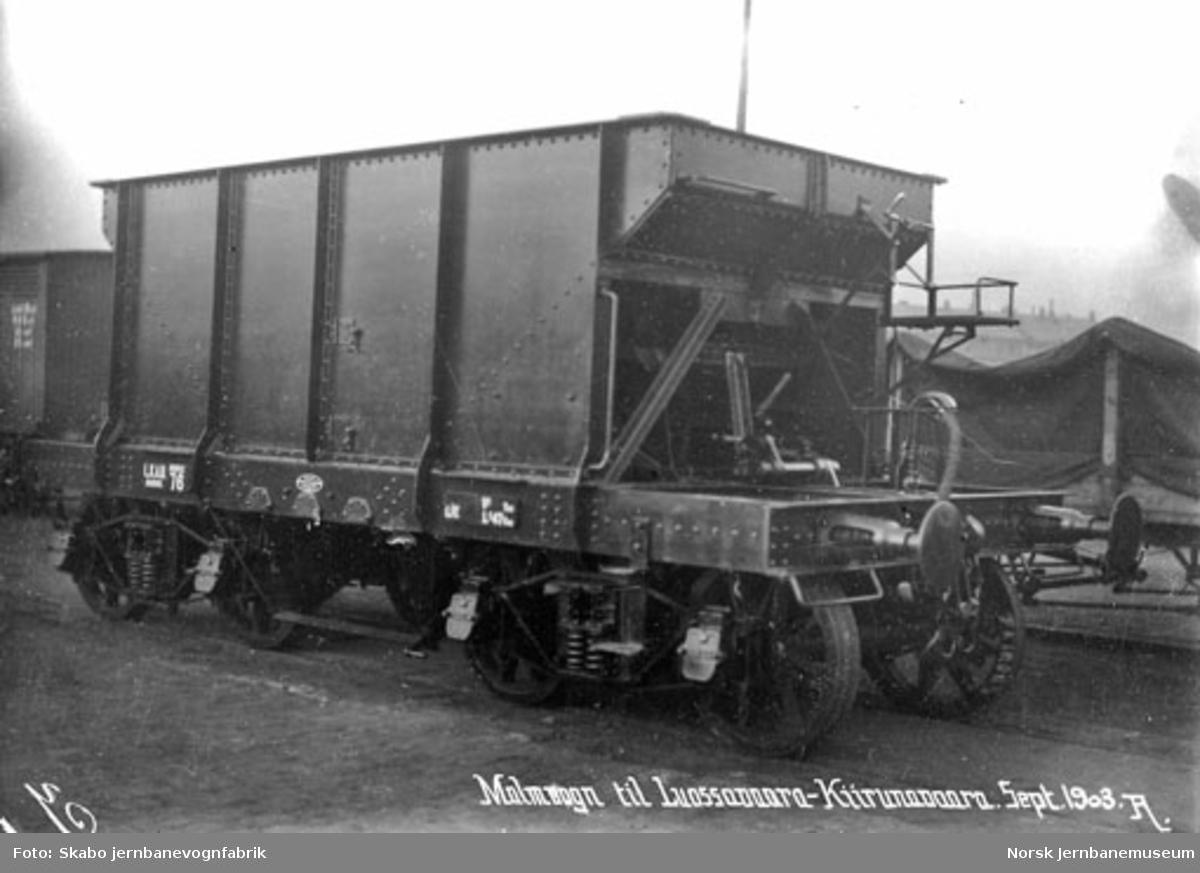 LKABs malmvogn litra Mo nr. 76 på Skabo Jernbanevognfabrik