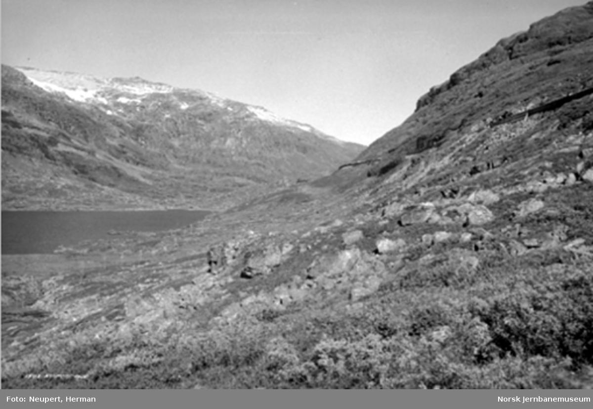 Bergensbanen oppe i fjellsiden mellom Hallingskeid og Myrdal