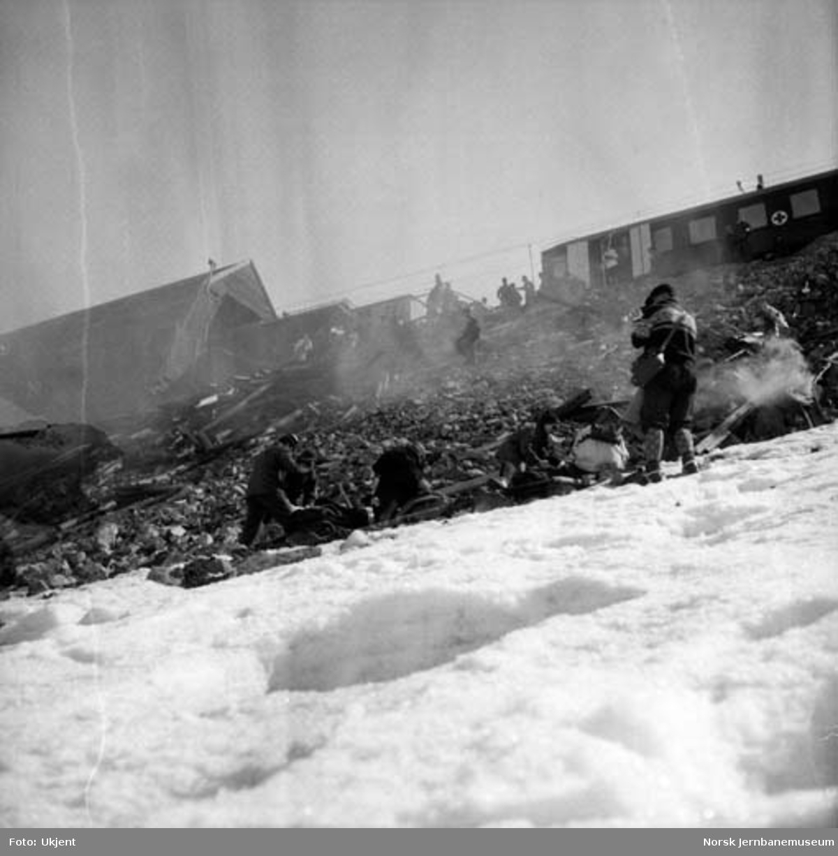 Sanitetsøvelse ved Grjotrusttippen på Bergensbanen