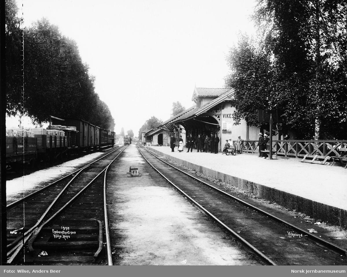 Vikersund stasjon med tog i spor 3