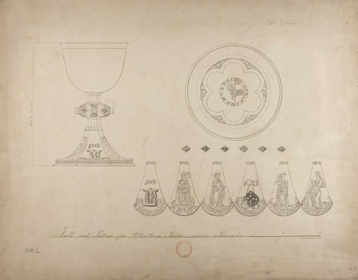 Harald Schøyens tegning av kalk og patene, Ulstein kirke, Ulstein, Møre og Romsdal.