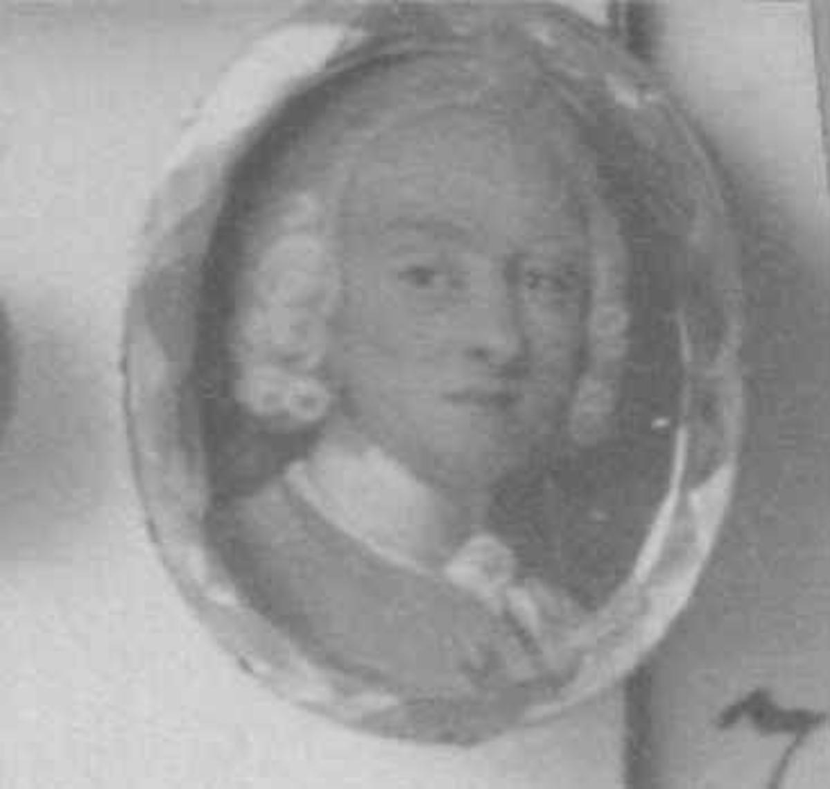 """Portretter, Colbjørnsen, Peder (1683-1738). I 1716 ble han valgt til """"Chef ved Svenskernes Indfald"""", angrepet på Fredrikshald, nå Halden.  Gift i Arendal 1720 med Hilleborg Dund (eller Duns). Fra Den kulturhistoriske Udstilling i Kristiania 1901."""