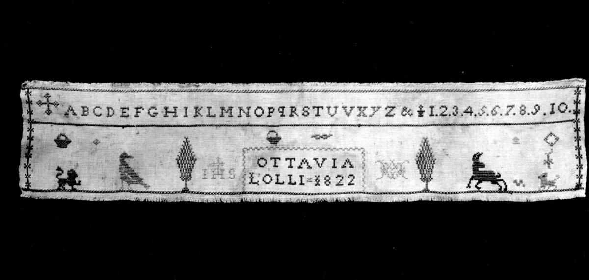 Navneduk fra 1822, Italia. Röhsska museet, Gøteborg.