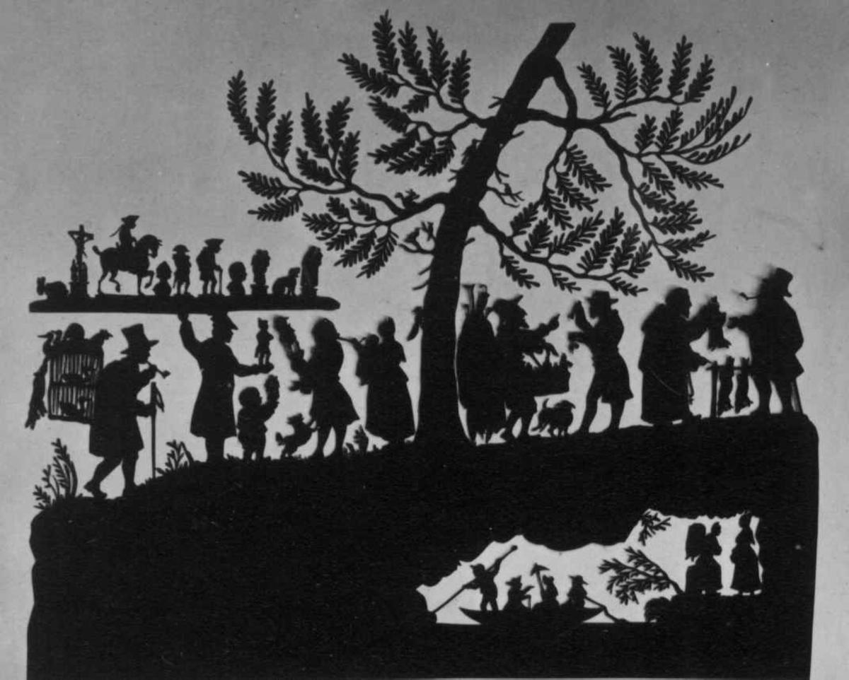 Menneskegruppe, silhouett,ukjent.
