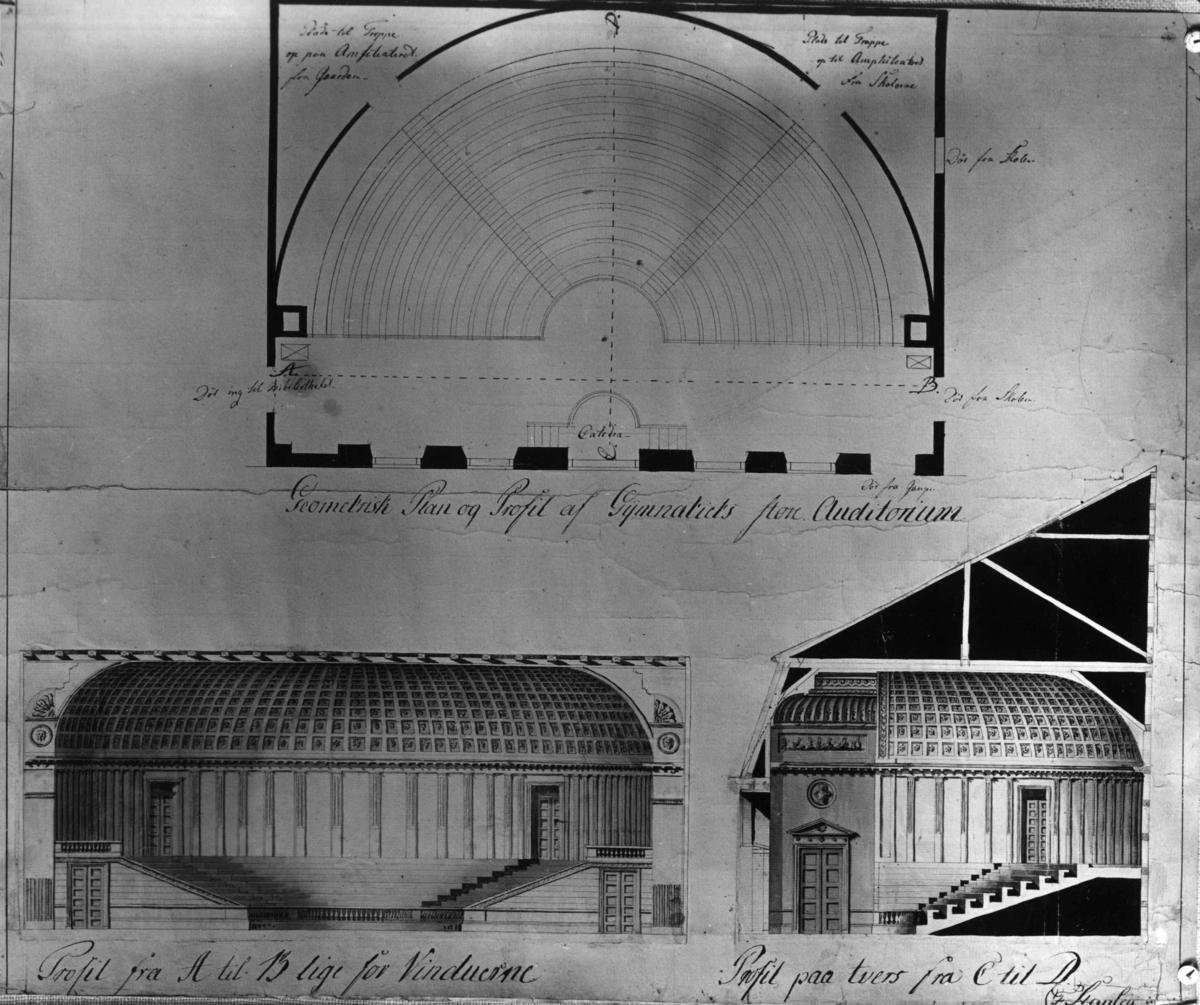 Dronningens gate 15, Oslo. Tegning av Auditoriet, Kirkedepartementet, Christiania Katedralskole. Tegnet av G. T. F. Stanley. 1799.