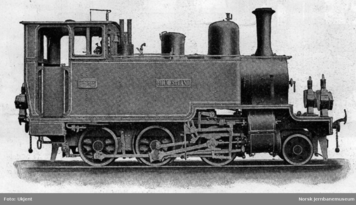 """Leveransefoto av Holmestrand-Vittingfossbanens damplokomotiv nr. 1 """"Holmestrand"""" ved levering fra Sächsische Maschinenfabrik i Chemnitz"""