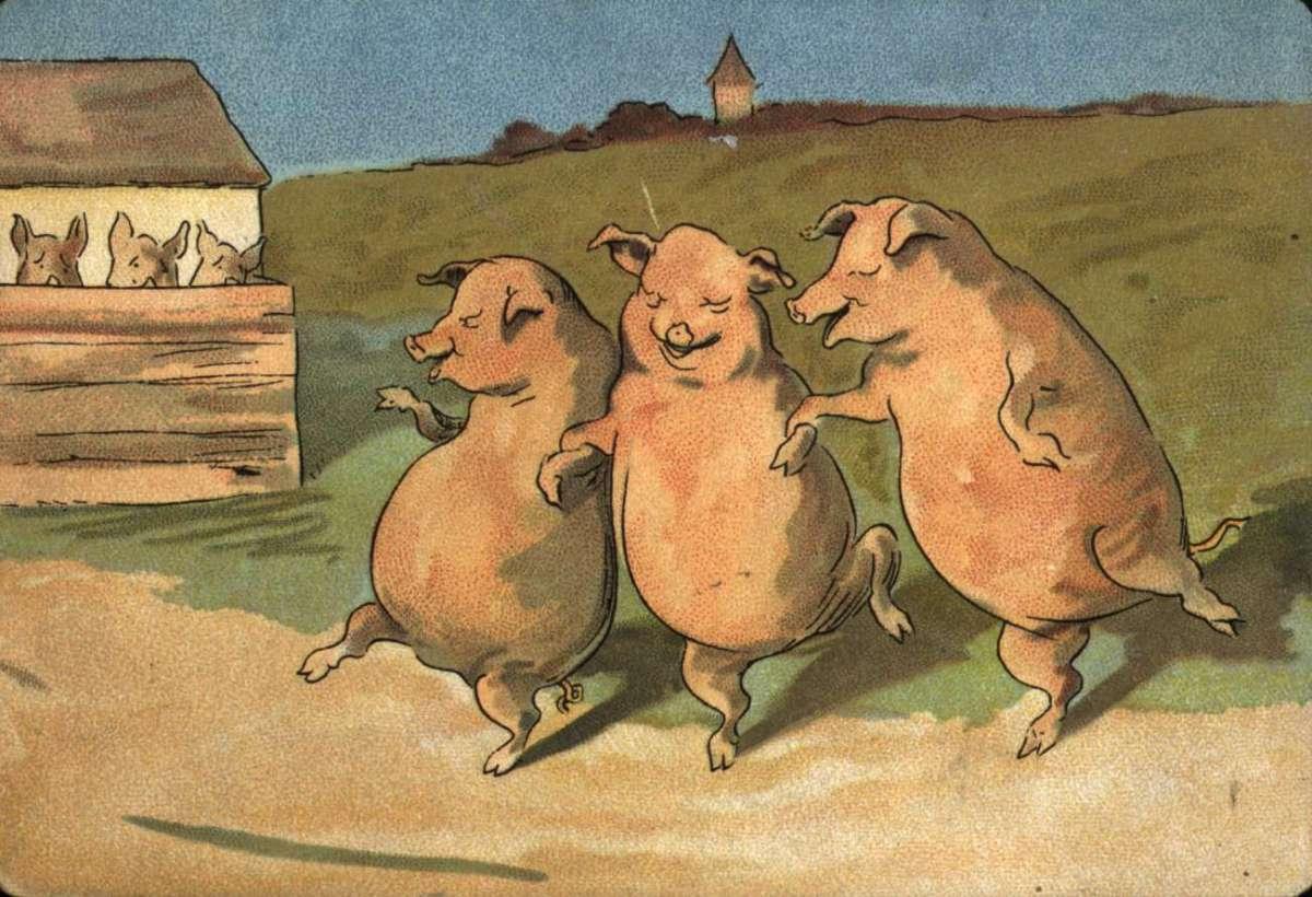 Postkort. Jule- og nyttårshilsen. Dyremotiv. Tre glade griser danser utenfor grisebingen. Datert julen 1898.