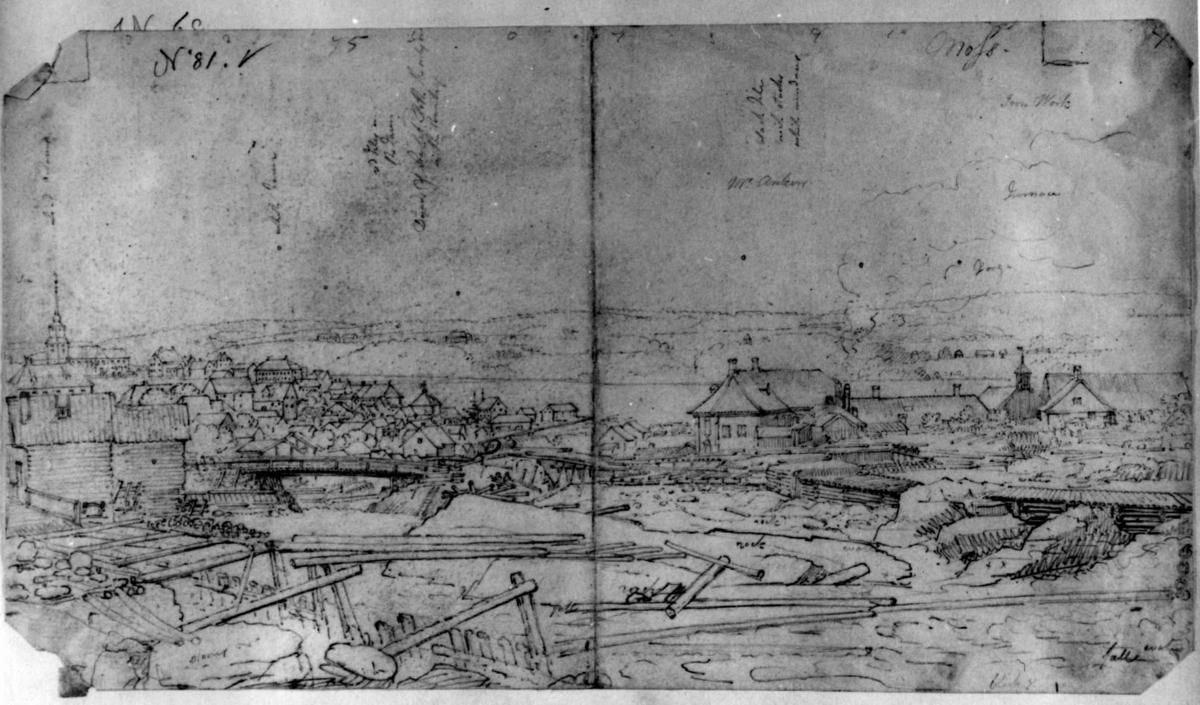 "MossFra skissealbum av John W. Edy, ""Drawings Norway 1800""."