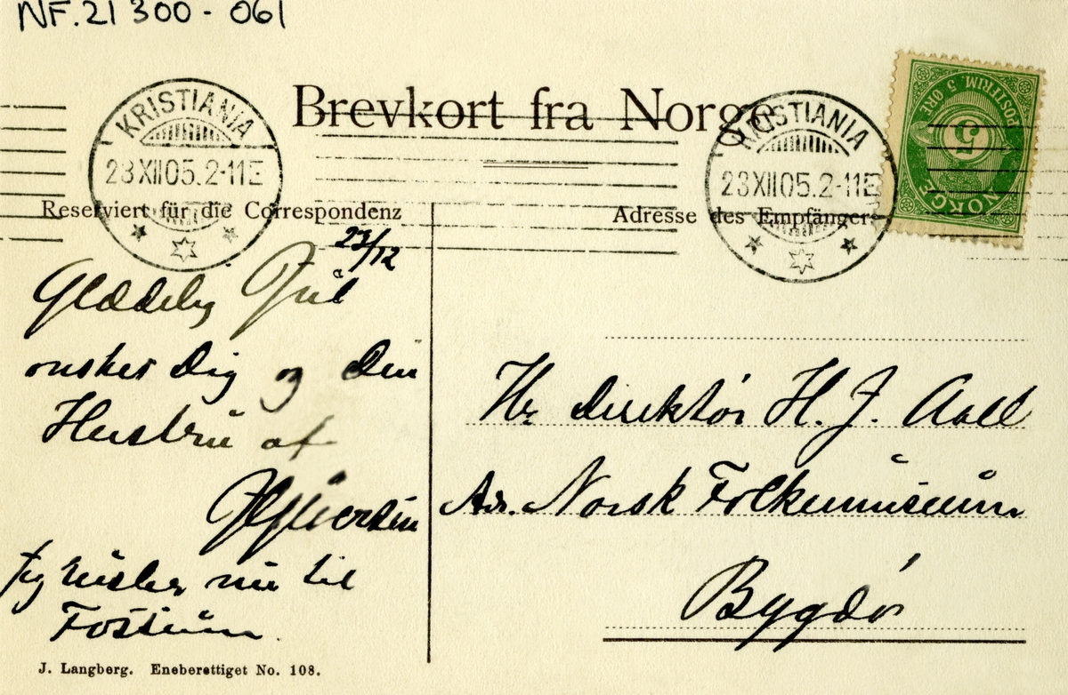 Postkort. Julehilsen. Fotografisk motiv. Svart/hvitt. Vintermotiv. Påskrift: Norsk Embetsgård. Hage. Hovedbygning. Poststemplet Kristiania 23.12.1905.