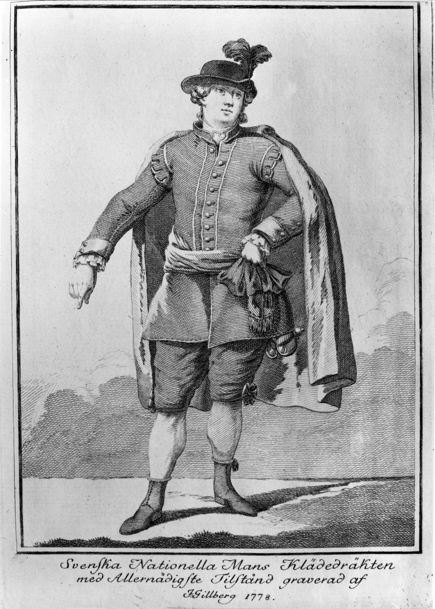 Svenska dräkten. Kopparstick av Jacob Gillberg 1778 efter förlaga av Jean Erik Rehn.