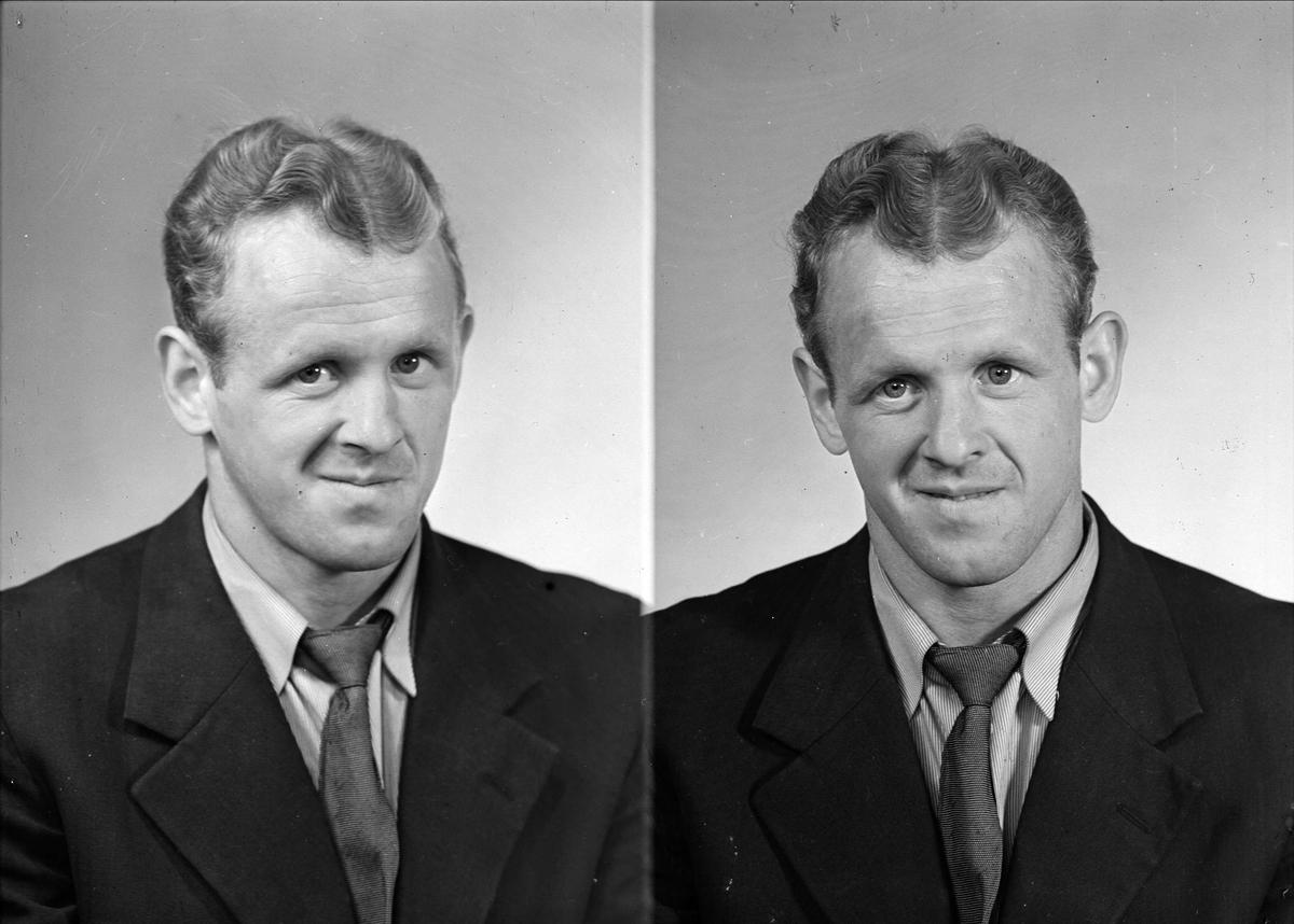 Ateljéporträtt - man, Lundgren, Vretgränd, Uppsala juni 1948